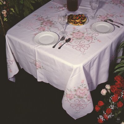 Orchid Floral Embroidered Tablecloth VL Orchid 20655 WH-2