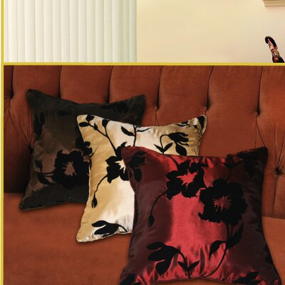 Silky Floral Design Pillow Cover Color: Brown