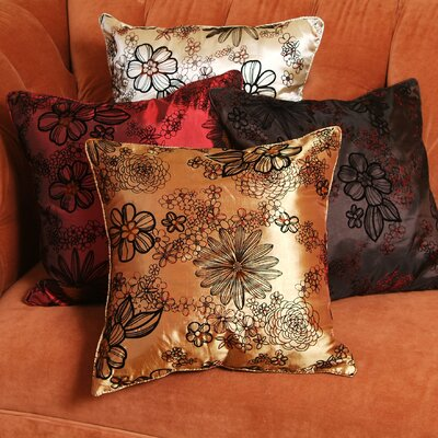 Silky Bloom Design Throw Pillow Color: Burgundy