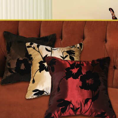 Silky Floral Design Throw Pillow Color: Burgundy