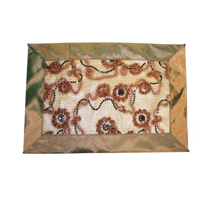 Crown Embroidered Sequins Placemat Color: Brown VL Crown 66530 BR-C