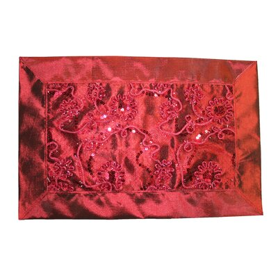 Crown Embroidered Sequins Placemat Color: Burgundy VL Crown 66538 BU-C