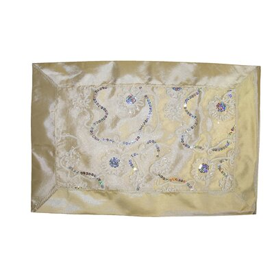Crown Embroidered Sequins Placemat Color: Ivory VL Crown 66522 IV-C