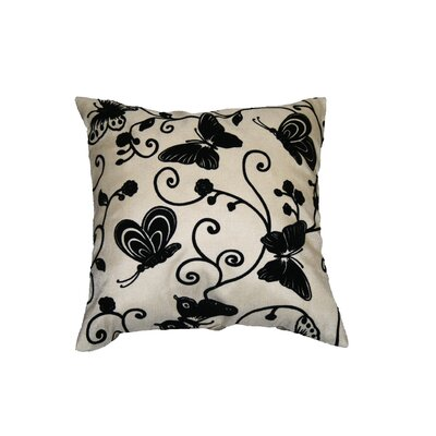 Tivoli Butterfly Flock Decorative Throw Pillow Color: Beige