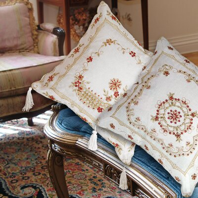Beaded Flower Design Embroidered Throw Pillow Color: Gold