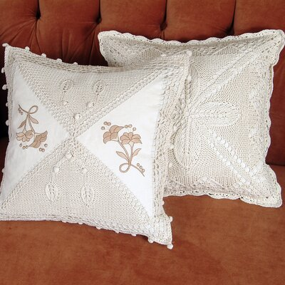 Braided Crochet Stars/Floral Design Throw Pillow Color: Beige