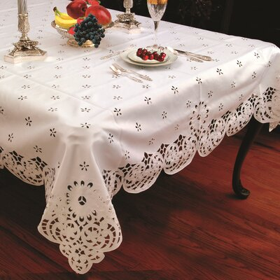 Violet Linen Daisy Design Tablecloth with Cutwork - Size: 108