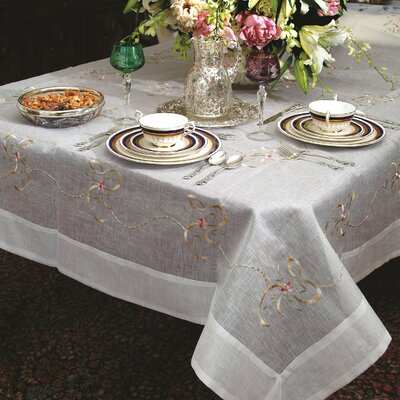 Beads and Bows Embroidered Tablecloth VL Beds & Bows 50787-WH-2