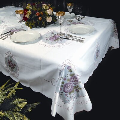 Violet Linen Fontainebleau Flower Embroideredred Tablecloth - Size: 108