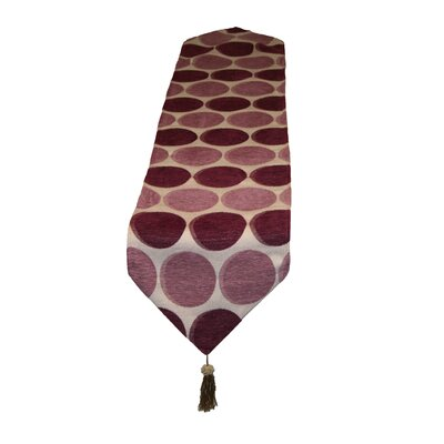 Violet Linen Deluxe Chenille Jacquard Circle Design Table Runner - Color: Lilac