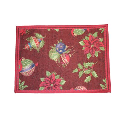 Seasonal Jingle Bells Design Red Area Rug Rug Size: Rectangle 17 x 23