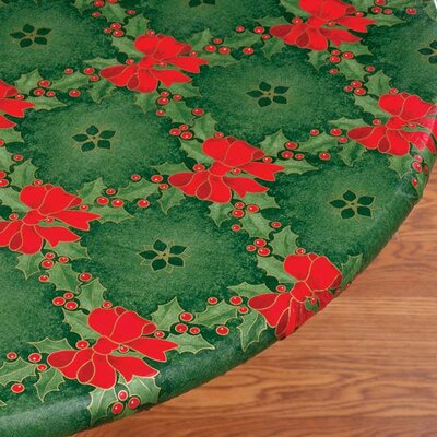 Holly and Ribbons Elastic Table Cover Size: Large