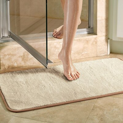 Microfiber Absorbing Bath Mat Bathroom Rug Size: Runner, Color: Beige