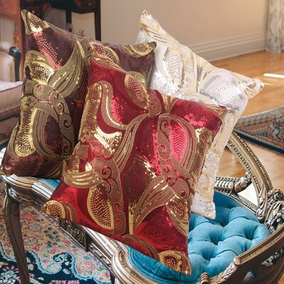 Marvelous Vintage Embroidered Sequins Decorative Pillow Cover Color: Gold