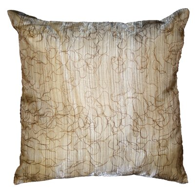 Eden Lace Tafetta Nittle Mesh Cover Pillow Color: Brown