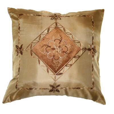 Silky Indiana Embroidered Velvet Diamond Decorative Throw Pillow Color: Gold