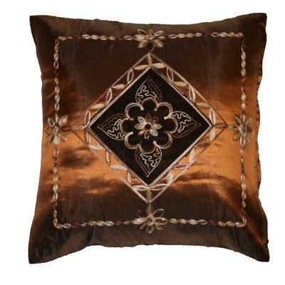 Silky Indiana Embroidered Velvet Diamond Decorative Pillow Cover Color: Copper