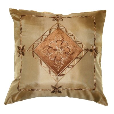 Silky Indiana Embroidered Velvet Diamond Decorative Pillow Cover Color: Gold