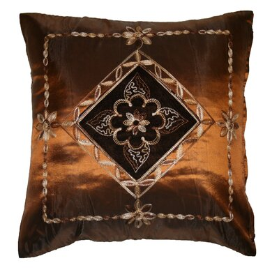 Silky Indiana Embroidered Velvet Diamond Decorative Throw Pillow Color: Copper