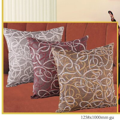 Violet Linen Classic Damask Design Jacquard Decorative Throw Pillow - Color: Brown / Gold