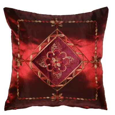 Silky Indiana Embroidered Velvet Diamond Decorative Throw Pillow Color: Burgundy