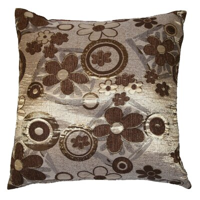 Victoria Chenille Jacquard Daisy Decorative Throw Pillow Color: Brown / Gold