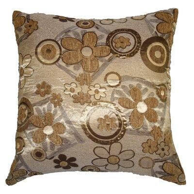 Victoria Chenille Jacquard Daisy Decorative Throw Pillow Color: Gold