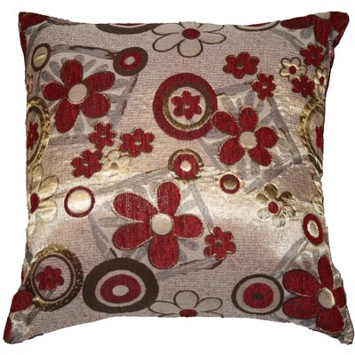 Victoria Chenille Jacquard Daisy Decorative Throw Pillow Color: Burgundy / Gold