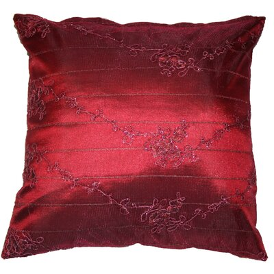 Swiss Embroidered Lace Decorative Throw Pillow Color: Burgundy