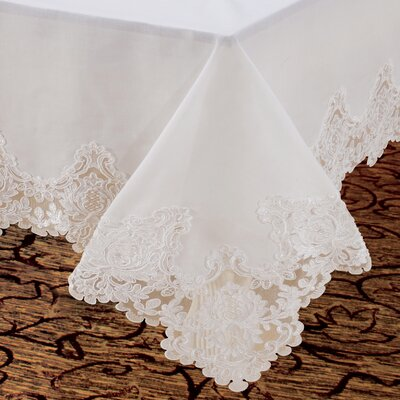 Violet Linen Imperial Embroidered Vintage Lace Design Tablecloth - Size: 70