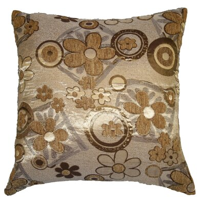 Victoria Chenille Jacquard Daisy Decorative Pillow Cover Color: Gold