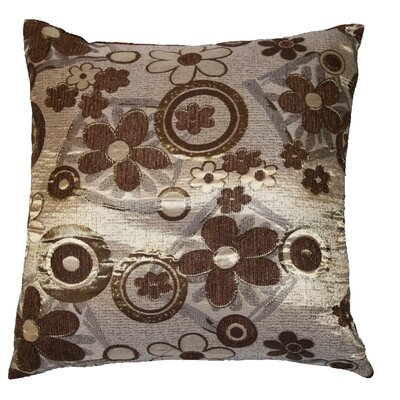 Victoria Chenille Jacquard Daisy Decorative Pillow Cover Color: Brown / Gold