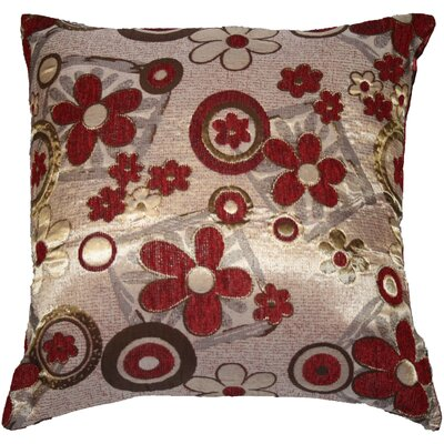 Victoria Chenille Jacquard Daisy Decorative Pillow Cover Color: Burgundy / Gold