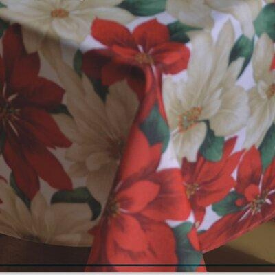 "European Christmas Poinsettia Tablecloth Size: 70"" W x 52"" D"