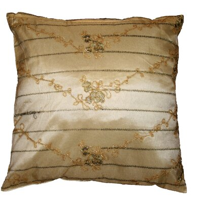 Swiss Embroidered Lace Decorative Pillow Cover Color: Gold