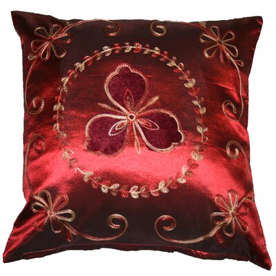 Silky Ornate Embroidered Floral Decorative Throw Pillow Color: Burgundy