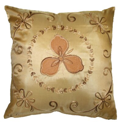 Silky Ornate Embroidered Floral Decorative Throw Pillow Color: Gold