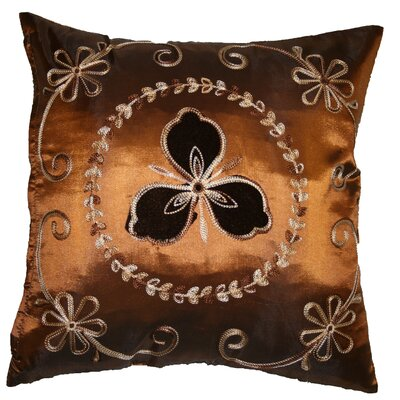 Silky Ornate Embroidered Floral Decorative Throw Pillow Color: Copper
