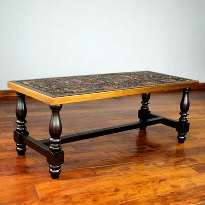 Clarkdale Birds Mohena Wood and Leather Coffee Table