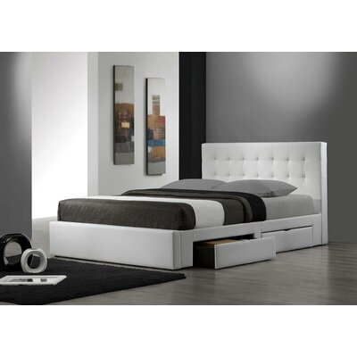 Upholstered Storage Platform Bed Size: Queen, Finish: White