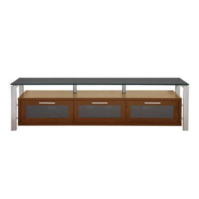 Decor Series 71 TV Stand Color: Walnut and Silver with Black Glass