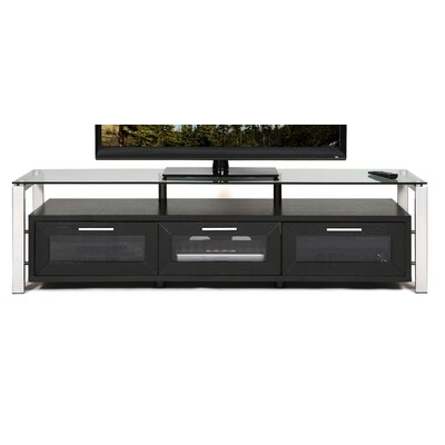 Decor Series 71 TV Stand Color: Black Oak and Silver with Clear Glassr