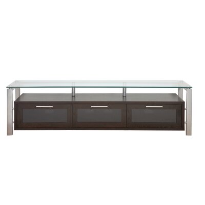 Decor Series 71 TV Stand Color: Black Oak and Silver with Black Glass