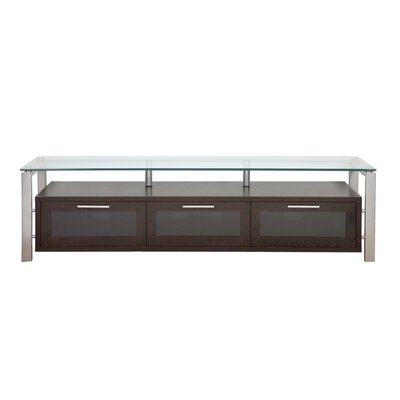 Decor Series 71 TV Stand Color: Espresso and Silver with Black Glass