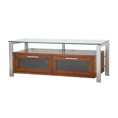 D�cor TV Stand Glass Color: Clear Glass, Finish: Walnut and Silver