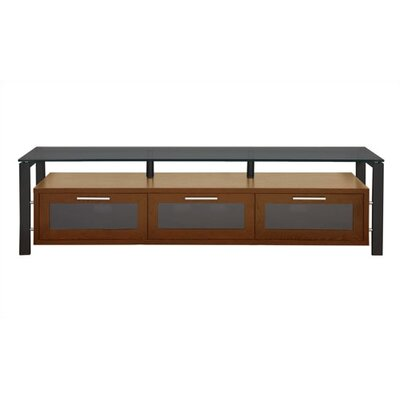 Decor Series 71 TV Stand Color: Walnut and Black with Black Glass