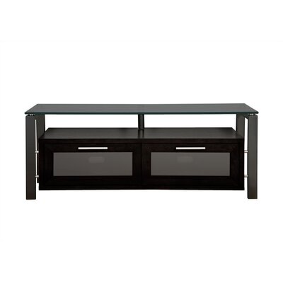 D�cor TV Stand Glass Color: Clear Glass, Finish: Black Oak and Silver