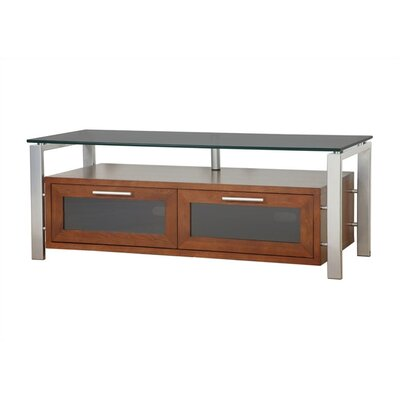 D�cor 50 TV Stand Color: Walnut and Silver, Glass Color: Black Glass