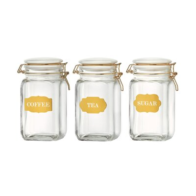 Sunrise 3 Piece Glass Canister Jars Set