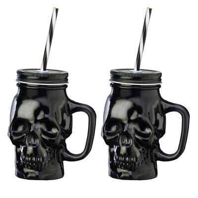 Skull 16 oz. Glass Mason Jar Color: Black THDA1737 41572186